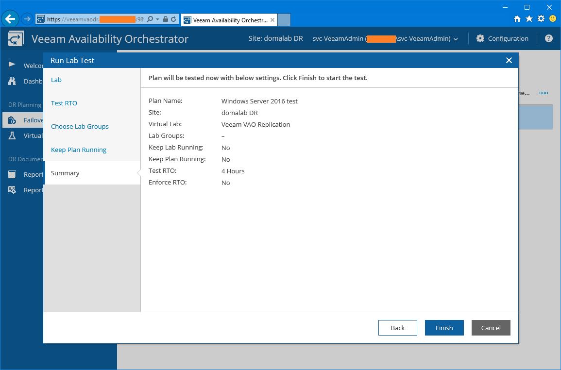 domalab.com Veeam VAO verification plan