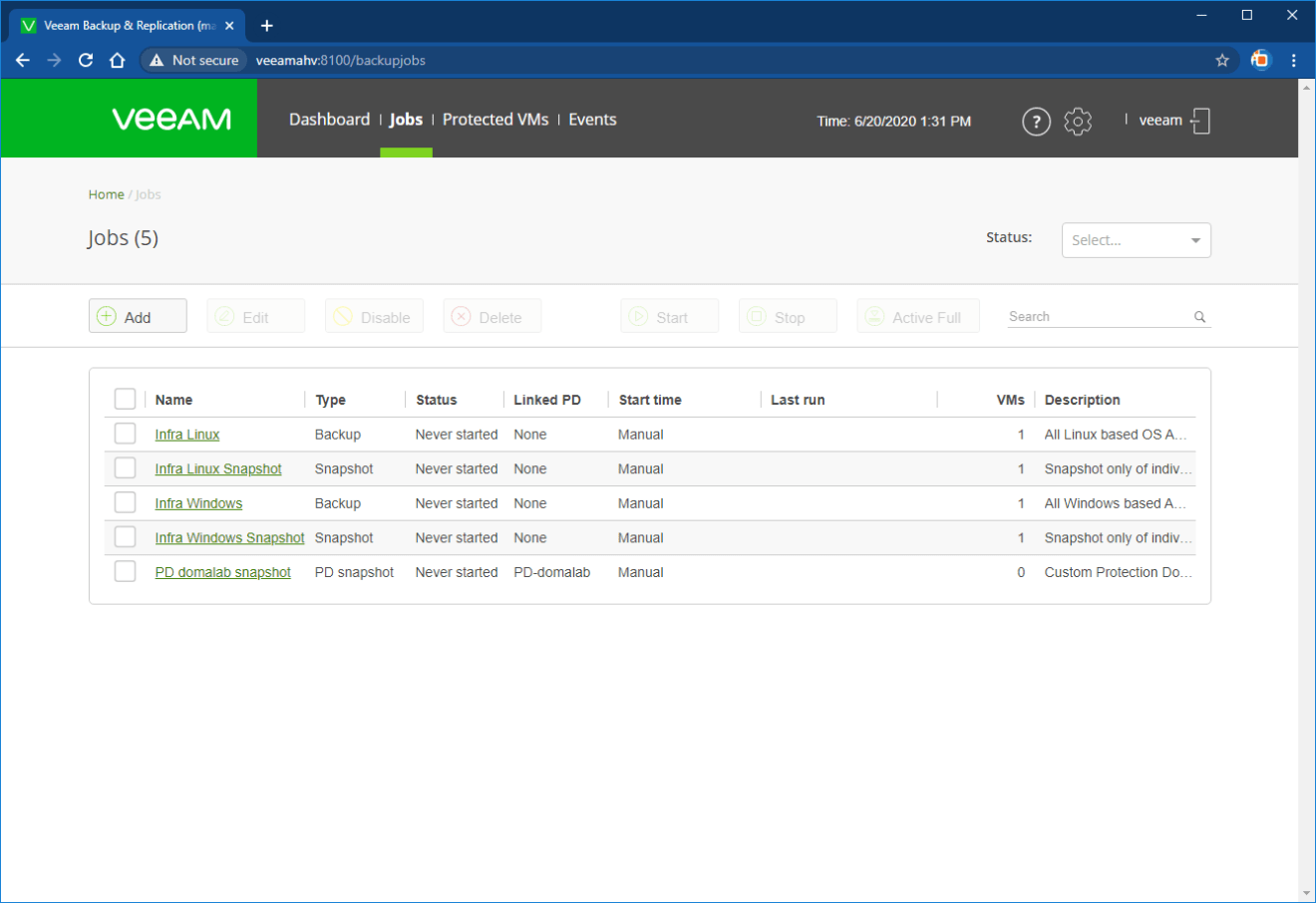 domalab.com Veeam Backup Nutanix job