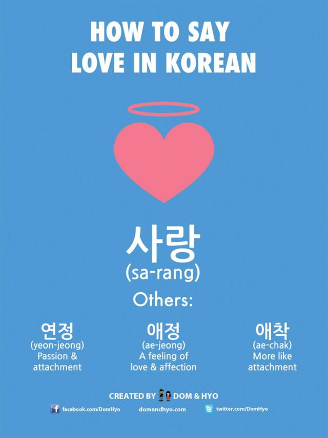 How to Say Love in Korean | Learn Korean with Fun & Colorful Infographics - Dom & Hyo