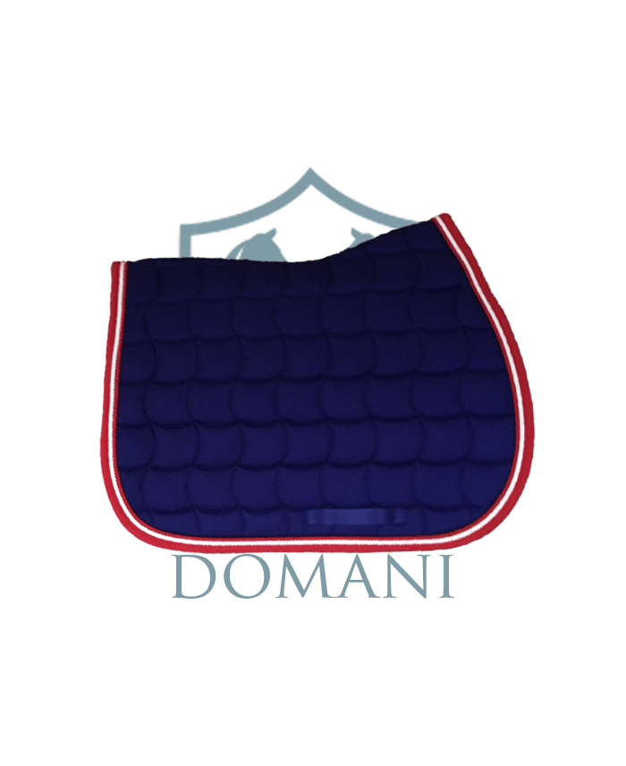 tapis de selle jumping marine rouge domani equestrian