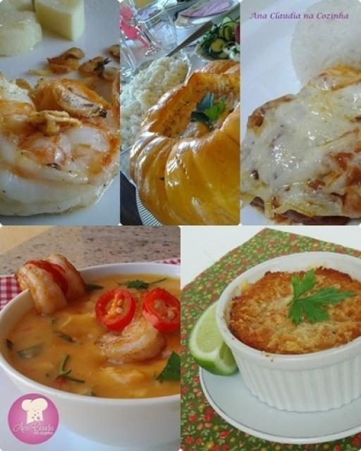 seleção de receitas caseiras de peixes e frutos do mar