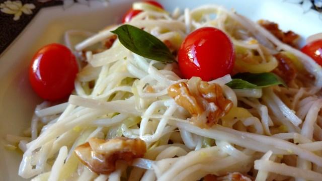 espaguete de palmito e abobrinha