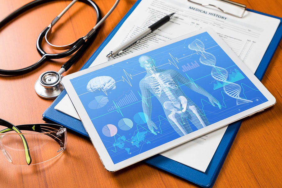 medical technology concept, human body and vital sign