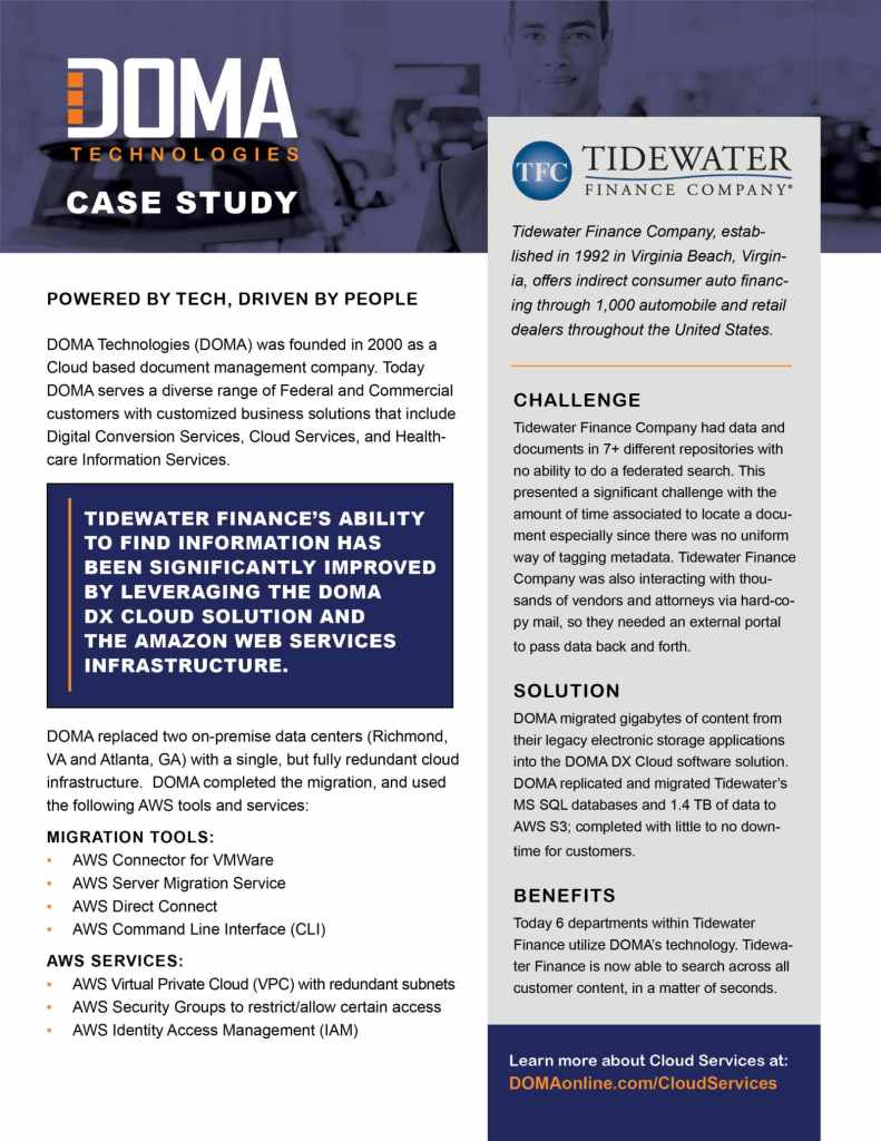 Tidewater Finance Case Study ⋆ Doma Technologies