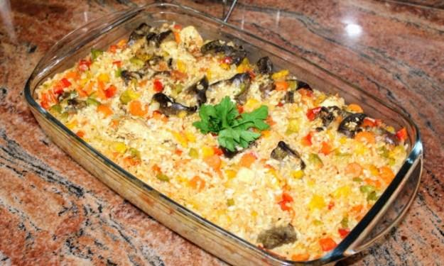 Пилешки дробчета с ориз и зеленчуци