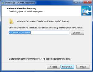 Instalacija sustava - izbor direktorija u koji se sustav instalira