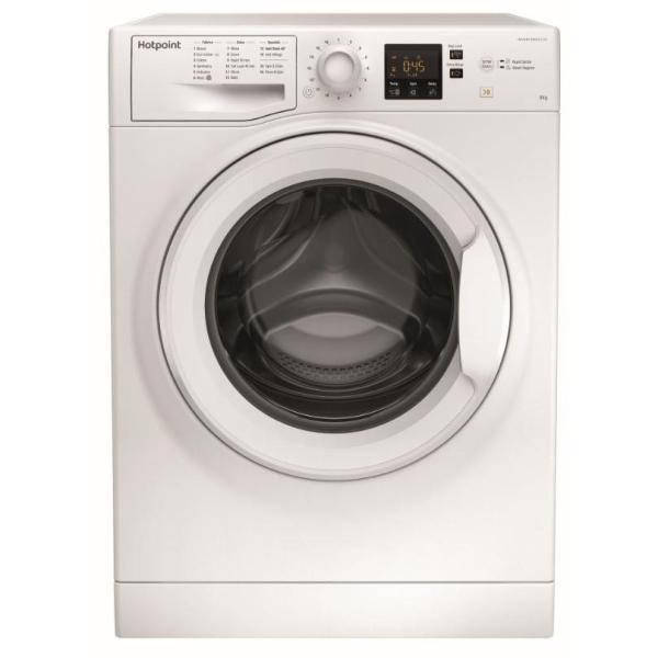 PRODUCT Type Washing Machine Brand Hotpoint Model NSWF843CW PRODUCT HIGHLIGHTS Anti-Allergy Technology Yes Steam Programme Steam Hygiene DESCRIPTION Capacity (kg) 8 Spin Speed (rpm) 1400 Colour White FEATURES Child LockMore Information... Yes Control Type Electronic Delay Timer Yes (24 Hours) Display Digital Time Left Display Yes Variable SpinMore Information... Yes Variable Temperature Yes PROGRAMMES Number of Programmes 16 Cottons Yes Delicates Yes Drain/Spin Yes Eco Cycles Yes Extra Rinse Yes Quick Wash Yes (30 Minutes) Rapid Yes Synthetics Yes Wool Yes EFFICIENCY Energy Efficiency Class A+++ Spin Performance Class B PERFORMANCE Noise Level Washing (dB) 54 Noise Level Spinning (dB) 82 Annual Energy Consumption (kWh) 195 Annual Water Consumption (l) 11830 DIMENSIONS Height (mm) 850 Width (mm) 595 Depth (mm) 577 Requires 5mm clearance on either side of appliance STEAM TECHNOLOGY Use the power of steam for fresher, cleaner clothes. Steam Hygiene adds an extra period of steam at the end of a full wash cycle for a deep intensive clean. GUARANTEE 10 years parts and 1 years labour, subject to registration within 28 days of delivery
