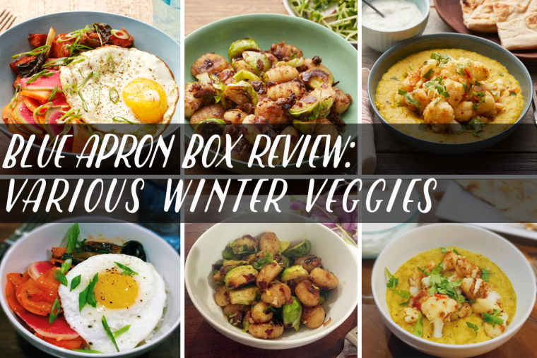 Blue Apron box review featuring Vegetable Bibimbap, Brown Butter & Chestnut Gnocchi, and Spiced Lentil Stew.