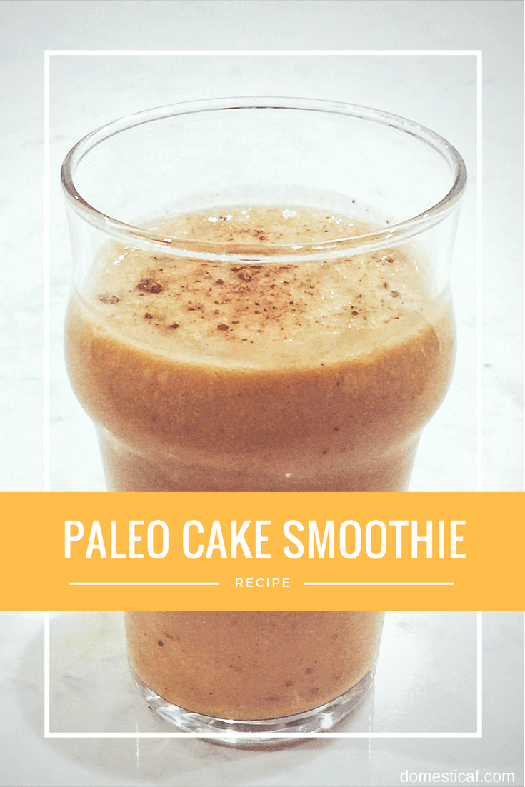 A creamy and delicious paleo cake smoothie that will satisfy your cravings for cake and ice cream using Whole30 compliant ingredients!
