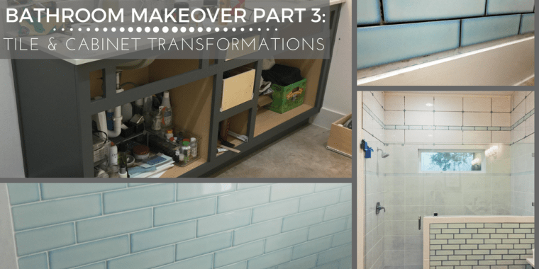 In which we learn about how the Rustoleum Cabinet Transformation kit lies but is also wonderful, and see how the tile transformation is coming along!