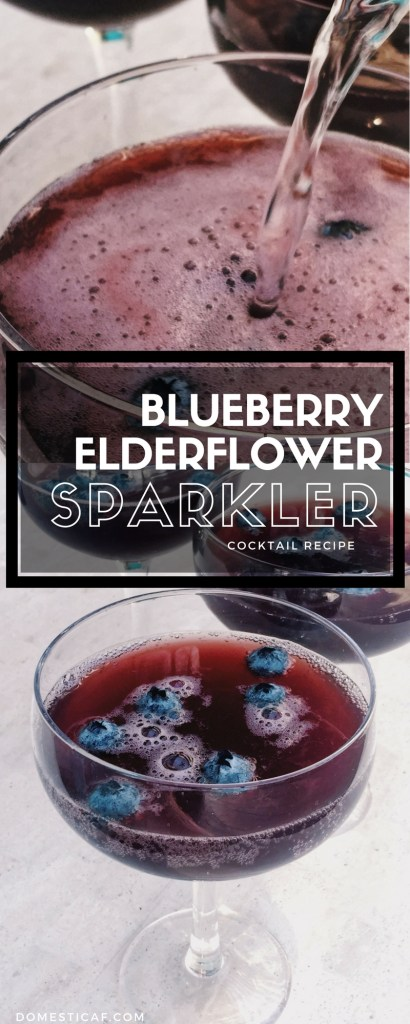 Blueberry Elderflower Sparkler - Elderflower liqueur + cava + blueberry shrub = Blueberry Elderflower Sparkler. A floral, tart beauty of a champagne cocktail that's perfect for girls night!