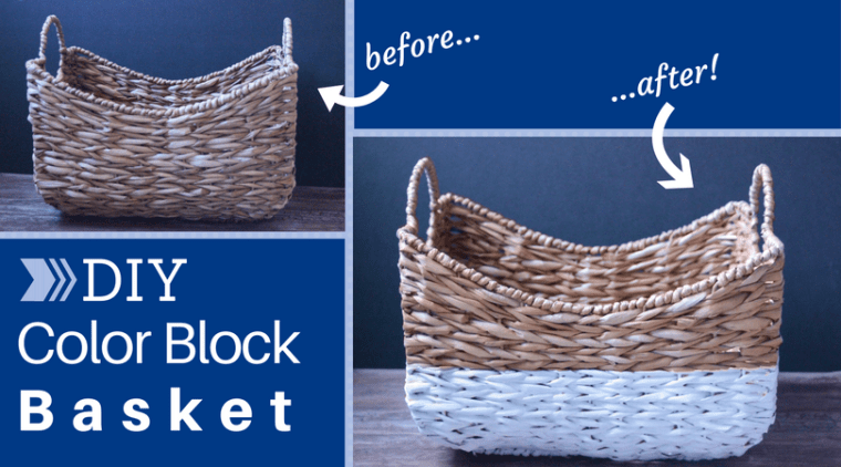 DIY Color Blocked Basket Storage - a $5 or less craft to class up your home and storage!