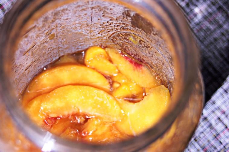 peaches & cream shrub in process