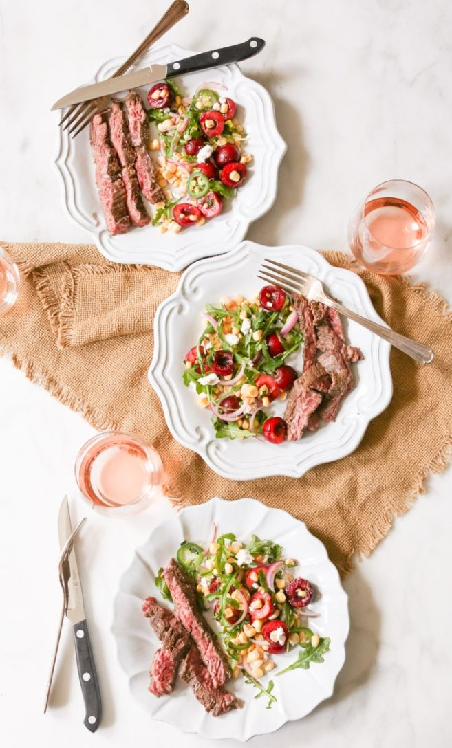 Marinated-Skirt-Steak-with-Corn-and-Sweet-Cherry-Salad-5