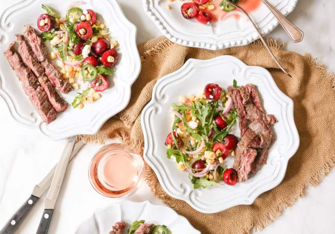 Marinated-Skirt-Steak-with-Corn-and-Sweet-Cherry-Salad-7