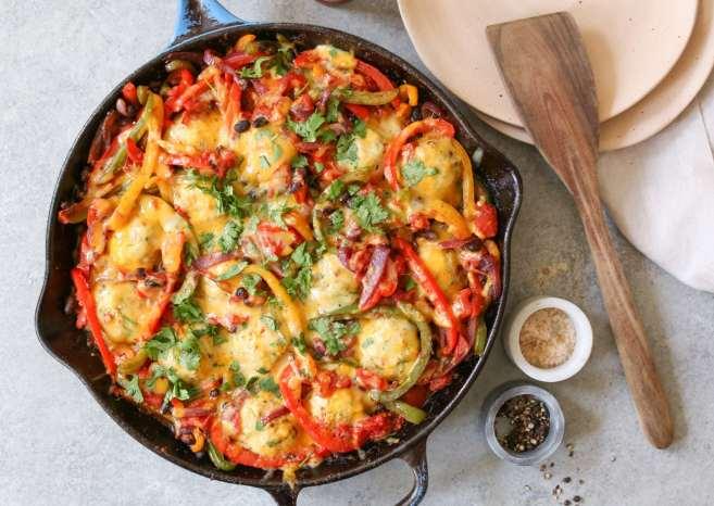 Gluten-Free-Chicken-Meatball-Fajita-Skillet-7