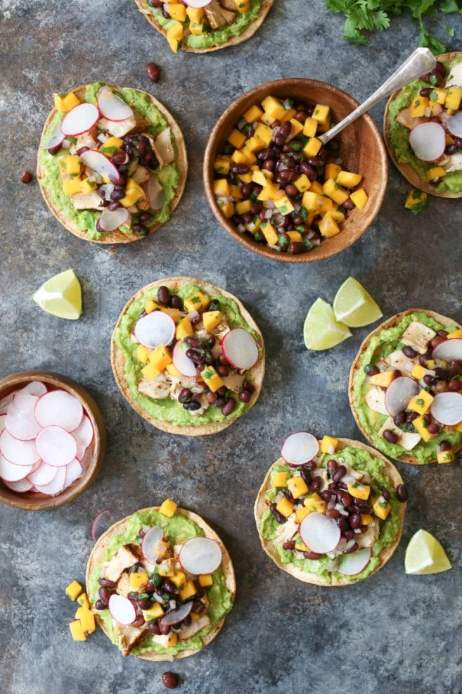 Grilled-Tuna-Tostadas-with-Black-Bean-Mango-Salsa-and-Avocado