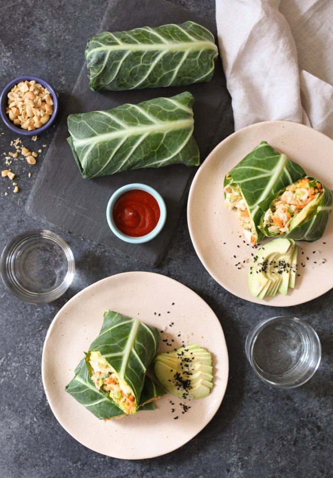 sriracha-chicken-salad-collard-wraps-with-mango-avocado-and-slaw