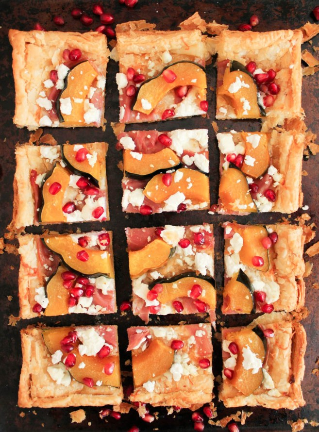 acorn-squash-tart-with-pomegranate-and-prosciutto