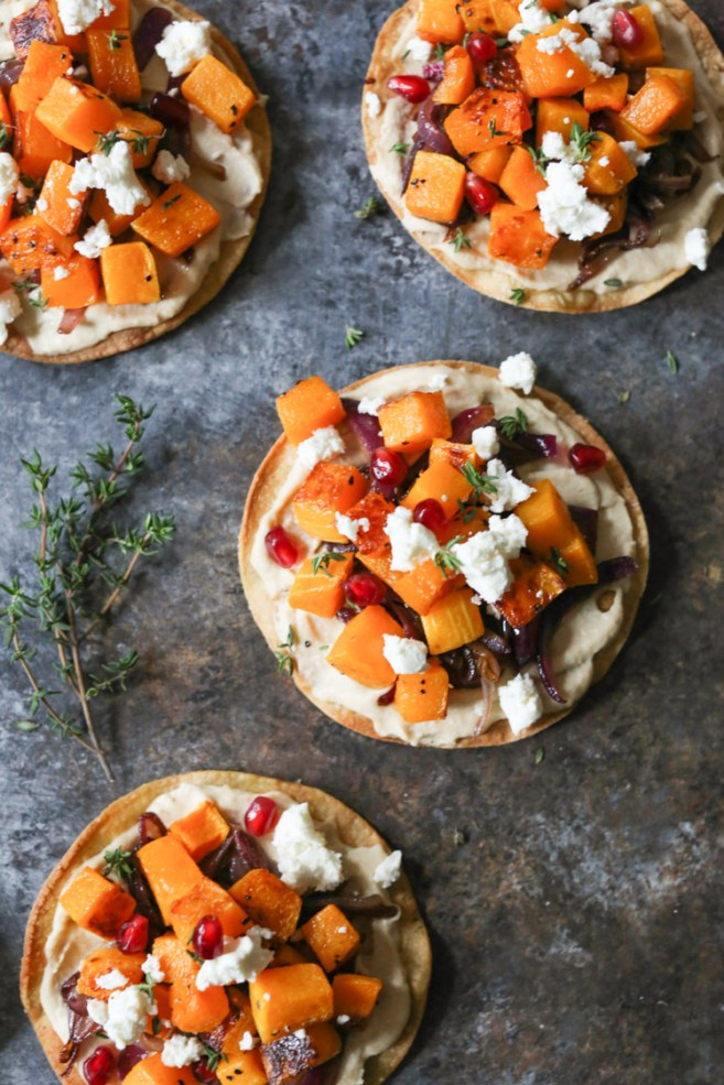 Roasted Butternut Squash Tostadas with Hummus, Caramelized ...