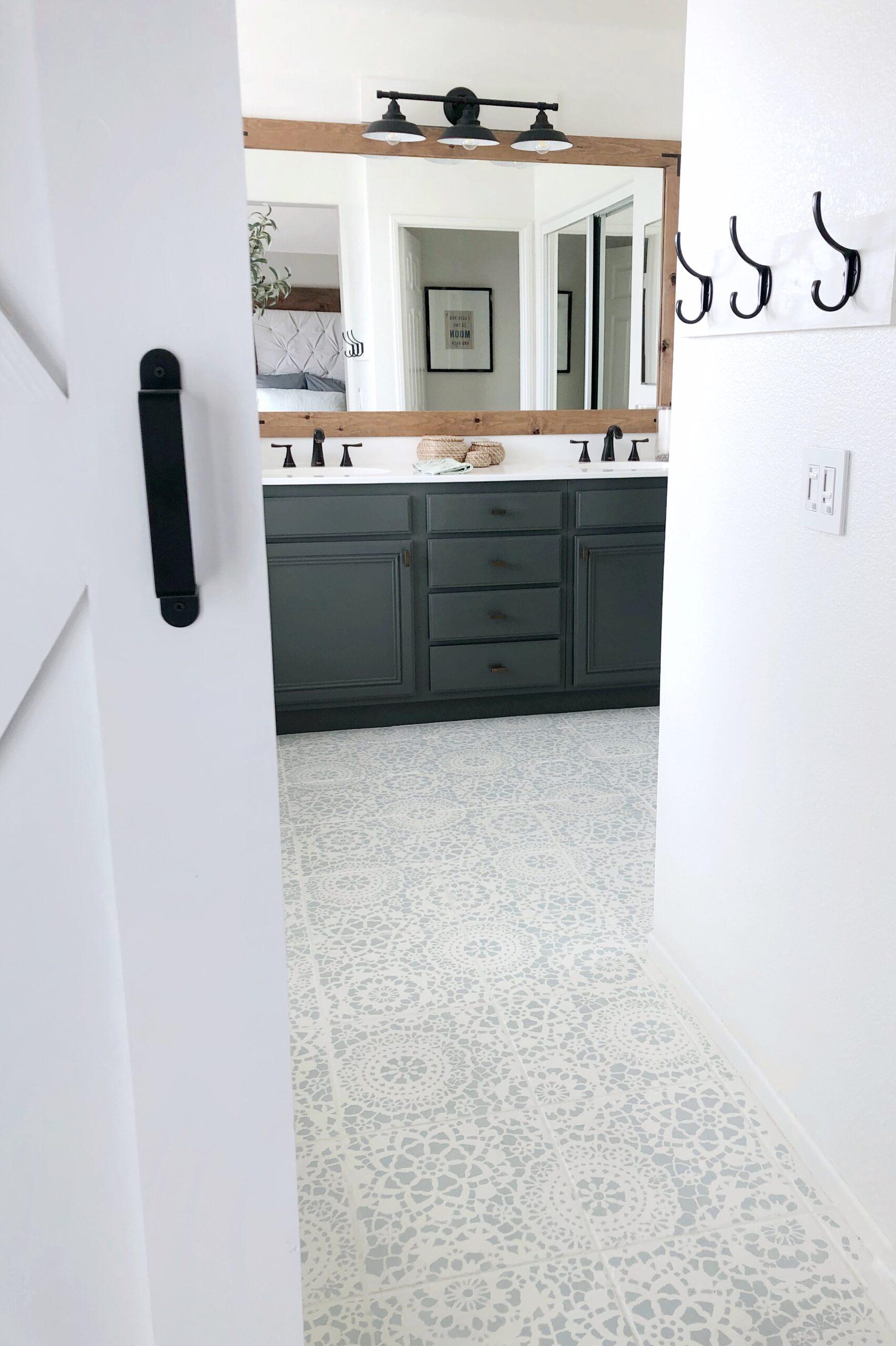 stencil tile floor update home diy