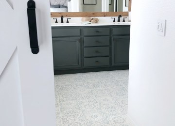Oh floor, how I love thee. Painted tile! - Domestic Blonde
