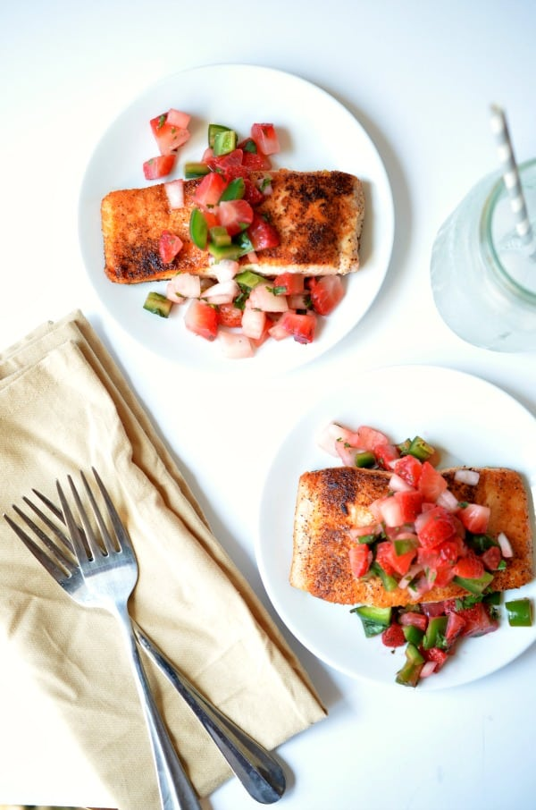 Pan Seared Salmon with Strawberry Salsa