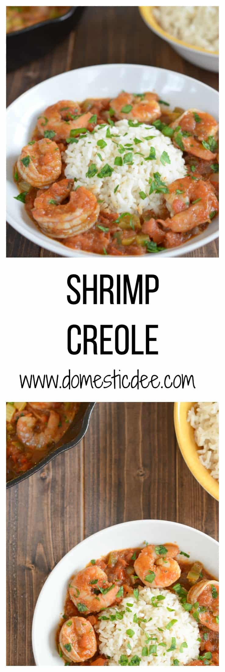 Easy Shrimp Creole Recipe- This easy shrimp creole recipe has jumbo shrimp, simmered in creole tomato sauce served over a steamy bed of rice. I www.domesticdee.com