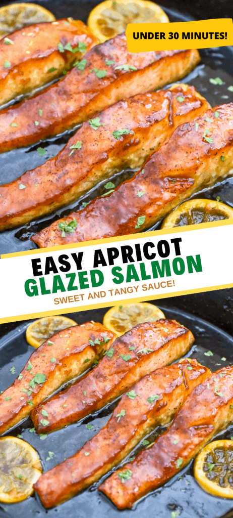 Easy salmon with an apricot glaze is one of the best salmon recipes. It's tangy, sweet and sticky with simple ingredients. Takes under 30 mins to make this salmon dinner! | domesticdee.com