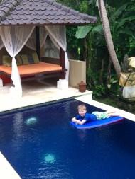 Cian enjoying the pool