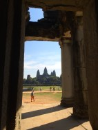 The view of Angkor Wat from a smaller outer shrine