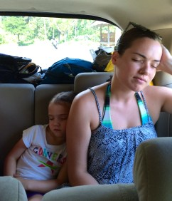 Snoozing with Ms. Caitlin on the way to the dock