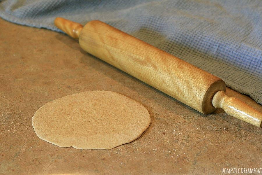 Rolled pita dough