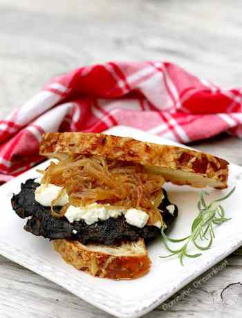 Grilled Portabella Mushroom Sandwich with Caramelized Onions and Goat Cheese