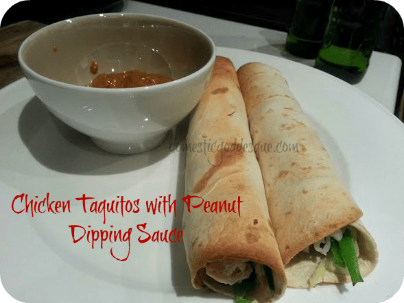 Chicken Taquitos with Peanut Dipping Sauce