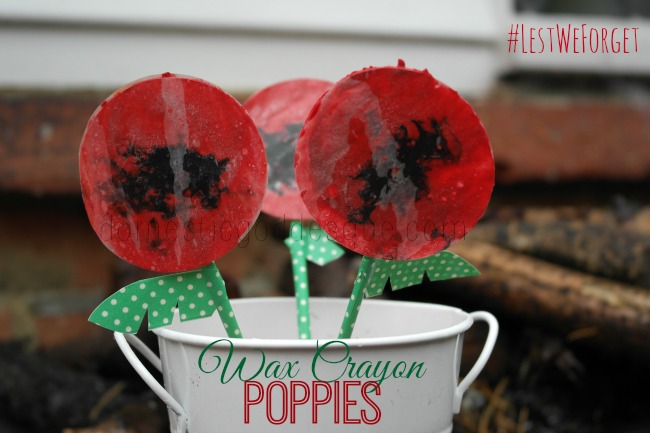Wax Crayon Poppies Remembrance Day Craft