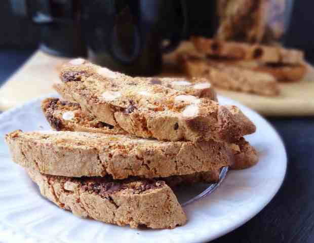 almond, chocolate & ginger biscotti