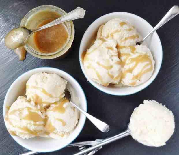 maple syrup ice cream with maple caramel swirl