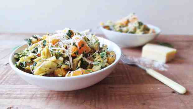 roast butternut squash, red onion, spinach & ricotta pasta