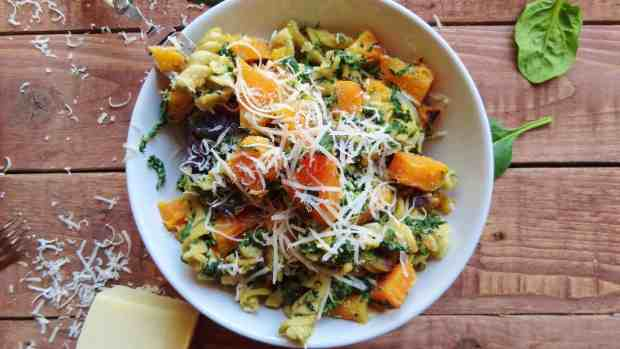 spinach, ricotta and butternut squash pasta