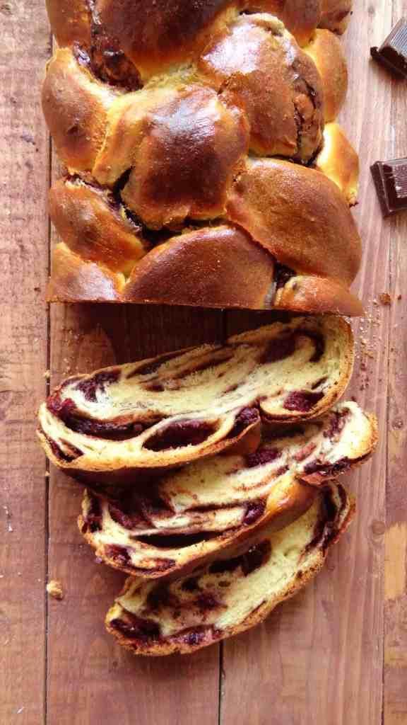 chocolate cherry challah loaf