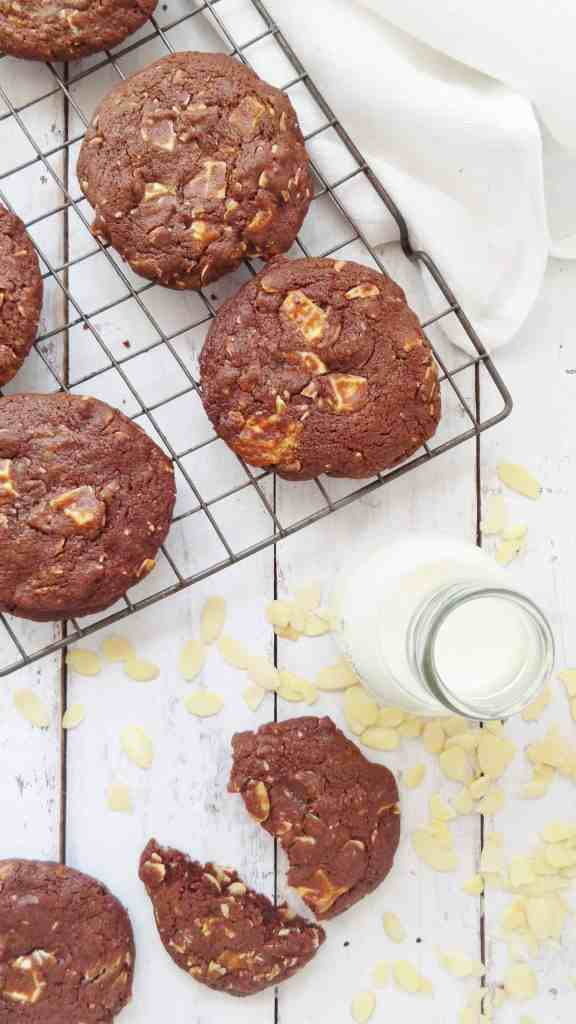 almond chocolate  white chocolate cookies