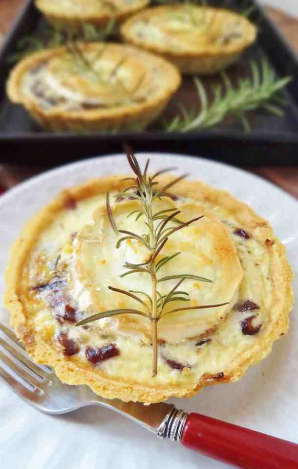 caramelised red onion goats cheese quiche