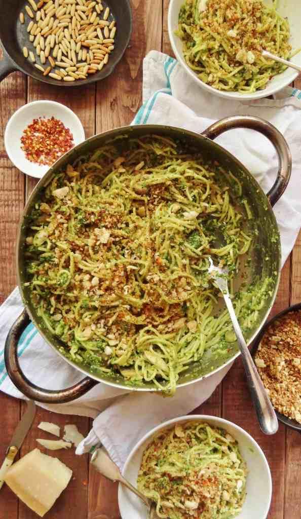 spaghetti, kale pesto and crispy breadcrumbs