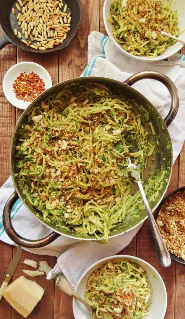 spaghetti, kale pesto and crispy breadcrumbs