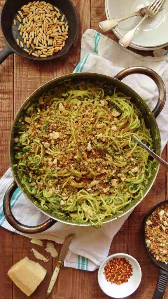 spaghetti, kale pesto and pangrattato