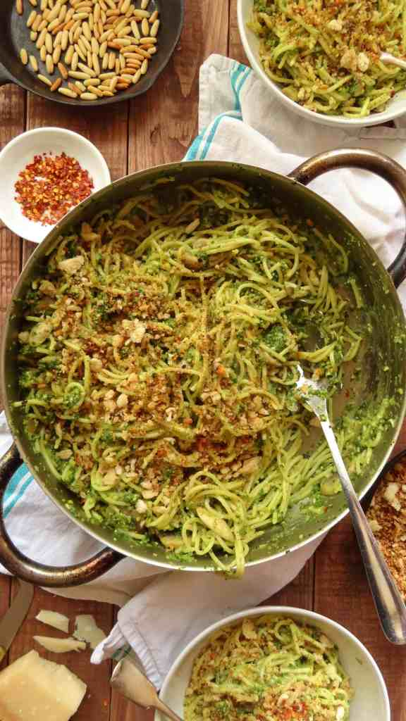 spaghetti with kale pesto. mushrooms and crispy breadcrumbs