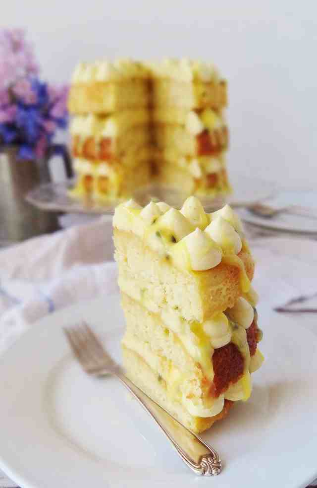 Coconut, passion fruit and white chocolate layer cake