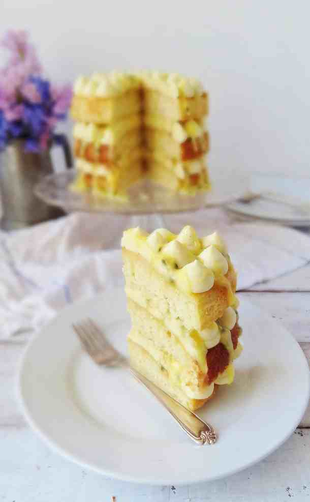 Coconut, passion fruit & white chocolate layer cake