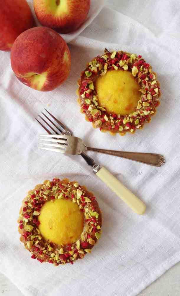 Peach, pistachio frangipane & rosewater tarts - Domestic Gothess